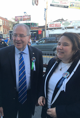 RAY LAMONT/Staff photo/State Speaker of the House Robert DeLeo attends his first St. Peter's Fiesta with state Rep. Ann-Margaret Ferrante of Gloucester.