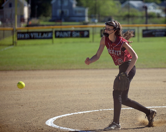 RYAN HUTTON/ Staff photo<br /> Gloucester's Sydney McKay fires one in during the top of the first inning of Wednesday's home tournament game against Burlington.