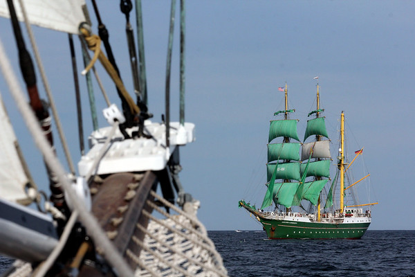 The Schooner Thomas E. Lannon approaches the German tall ship, Alexander von Humboldt II, during the sail. The Essex built schooner took a sail out of Gloucester to watch the start of the Rendez-Vous 2017 Tall Ships Regatta to Canada, off the coast of Rockport. <br /> June 22, 2017