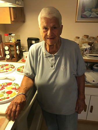 MARY MARKOS/Staff photo<br /> Sara Favazza, shown in her kitchen, says she is cooking so much for Fiesta she has no room for her own food in refrigerator. She is making six dishes.
