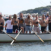 HADLEY GREEN/ Staff photo<br /> Men sing to the national anthem before the afternoon Seine Boat race at St. Peter's Fiesta in Gloucester. 6/23/17