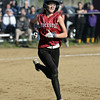 RYAN HUTTON/ Staff photo<br /> Gloucester's Sydney McKay hustles to first in the bottom of the fourth inning of Wednesday's home tournament game against Burlington.