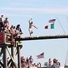HADLEY GREEN/ Staff photo<br /> The St. Peter's Fiesta greasy pole competition began Saturday afternoon on Pavilion Beach in Gloucester. 6/23/17