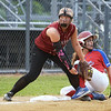 CARL RUSSO/staff photo. Marisa Orlando is unable to tag the runner, Fran Rubino, out at third base. Gloucester vs. Burlington Softball, Division 2 North Semifinals. 6/13/2018