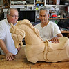 "MIKE SPRINGER/Staff photo<br /> Sculptor David Calvo, right, talks with student Don Pinegar of Chittenango, NY, about Pinegar's carousel horse carving during a five-day ""Bare Bones of Wood Carving"" workshop at his studio on the Gloucester waterfront. Calvo holds a variety of wood-carving workshops, lasting from one to five days, from May through November.<br /> 5/28/2018"