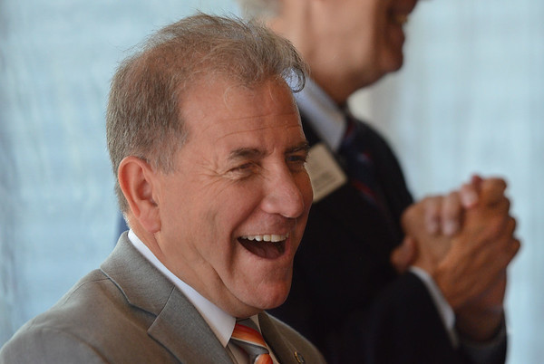 MIKE SPRINGER/Staff photo<br /> Bob Visnick of Cape Ann Law laughs during his introduction as winner of the Cape Ann Small Business Award for Rockport <br /> during the Cape Ann Chamber of Commerce's 38th annual Small Business Week Luncheon on Friday at the Castle Manor Inn in Gloucester.<br /> 6/8/2018