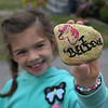 "MIKE SPRINGER/Staff photo<br /> Eight-year-old Daniella Orlando holds a ""Glosta Rock.""<br /> 6/15/2018"
