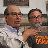 MIKE SPRINGER/Staff photo<br /> John Rosenthal, left, founder of Stop Handgun Violence, speaks as Greg Gibson, whose son Galen was killed by a man with a gun in 1992, listens during a National Gun Violence Awareness Day event Friday at Gloucester City Hall.<br /> 6/1/2018