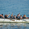 AMANDA SABGA/Staff photo<br /> <br /> Rowgue teammates celebrate their win during Friday night's St. Peter's Fiesta's women's seine boat race at Gloucester's Pavilion Beach. <br /> <br /> 6/29/18
