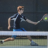 MIKE SPRINGER/Staff photo<br /> Billy Whelan, Hamilton-Wenham's number one singles player, hits a forehand during Division 3 North quarterfinal tennis play Wednesday against Manchester Essex at Gordon College in Wenham.<br /> 6/6/2018