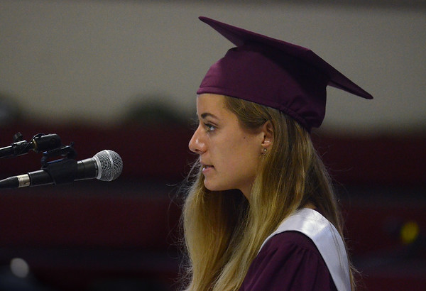 MIKE SPRINGER/Staff photo<br /> Salutatorian Grace Collins gives the opening address during the 2018 graduation ceremony Friday at Rockport High School. Sixty-seven seniors graduated.<br /> 6/1/2018