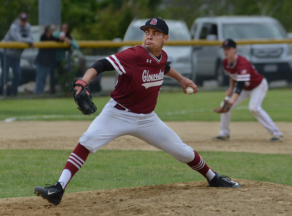 MIKE SPRINGER/Staff photo<br /> Gloucester's John John Mondello pitches against Triton during Division 3 North first round baseball playoff action Thursday in Gloucester.<br /> 6/7/2018