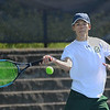 MIKE SPRINGER/Staff photo<br /> Anton Kozyrev Manchester Essex's number three singles player, hits a forehand during Division 3 North quarterfinal tennis play Wednesday against Hamilton-Wenham at Gordon College in Wenham.<br /> 6/6/2018