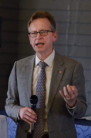 Jon B. Hurst, president of the Retailers Association of Massachusetts, speaks Friday during the Cape Ann Chamber of Commerce's 38th annual Small Business Week Luncheon at the Castle Manor Inn in Gloucester.<br /> 6/8/2018