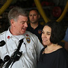 MIKE SPRINGER/Staff photo<br /> Gloucester Deputy Fire Chief Stephen Aiello talks with Amy Goulart during a press conference Monday at the Gloucester Fire Department Headquarters. Firefighter-paramedics helped deliver Goulart's third child -- a daughter -- in the kitchen of her Gloucester home on June 19.<br /> 6/25/2018