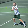 MIKE SPRINGER/Staff photo<br /> Pieter Breuker, the number one-ranked singles player for Manchester Essex, hits a midcourt backhand Thursday against a Masconomet opponent in Manchester.<br /> 5/31/2018