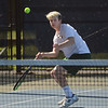 MIKE SPRINGER/Staff photo<br /> Garrett Lamothe, Manchester Essex's number two singles player, hits a drop shot during Division 3 North quarterfinal tennis play Wednesday against Hamilton-Wenham at Gordon College in Wenham.<br /> 6/6/2018