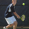 MIKE SPRINGER/Staff photo<br /> Nick Greco, Hamilton-Wenham's number two singles player, prepares to hit a backhand during Division 3 North quarterfinal tennis play Wednesday against Manchester Essex at Gordon College in Wenham.<br /> 6/6/2018