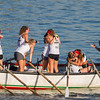 AMANDA SABGA/Staff photo<br /> <br /> Up Roar teammates celebrate their win during Friday night's St. Peter's Fiesta's girls seine bot race at Gloucester's Pavilion Beach. <br /> <br /> 6/29/18