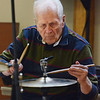 MIKE SPRINGER/Staff photo<br /> Charlie Vaughn of Marblehead plays drums Monday with the Good Ol' Salty Jazz Band at the Rose Baker Senior Center in Gloucester.<br /> 6/4/2018