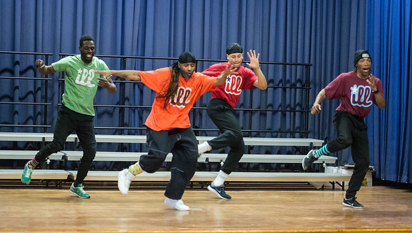 Desi Smith Photo.      Members of Illstyle and Peace, a Philadelphia-based Dance Troupe perform on stage Monday morning at East Gloucester Elementary School.  The Troupe also educated the students on the history of Hip Hop Dance. The performance was sponsored by the East Gloucester PTO and funded in part by a grant from the Gloucester Cultural Council. March 6,2017