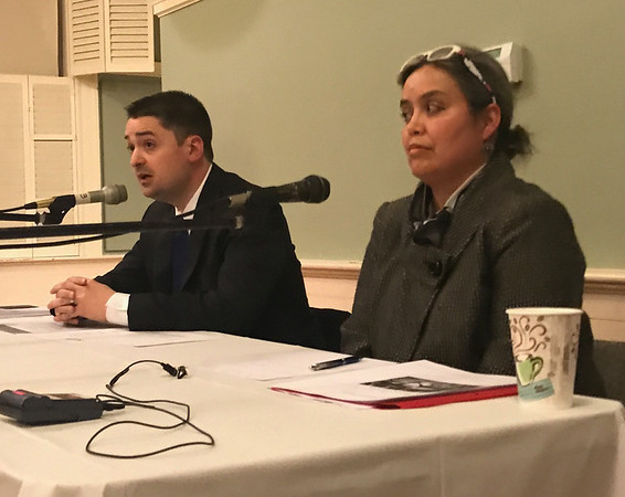 MARY MARKOS/Staff photo<br /> Boston City Councilor Josh Zakim, left, and Dr. Alexandra Piñeros Shields, executive director of Essex County Community Organization, speak about sanctuary at a Rockport forum Tuesday night.