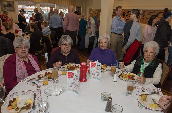 Desi Smith Photo.   Sister from left to right, Carmella Butman of Beverly, Jenny Sciola of Beverly, Teresa Zapell of Hamilton and Beth Chagnon of Hamilton all got together Friday morning for the Senior Care Meals-On-Wheels Valentine Fundraiser Breakfast held at Gloucester House. Originally planned for February, it was postponed due to a snow storm. The money raised supports the Meals on Wheels on Cape Ann and North Shore. Last year 165,000 meals were delivered.  March 10,2017