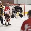 TIM JEAN/Staff photo<br /> Black Bears goaltender Anthony Cusamano, center, watches the action during 10th Annual Father and Son hockey game at Talbot Rink in Gloucester.   3/25/17