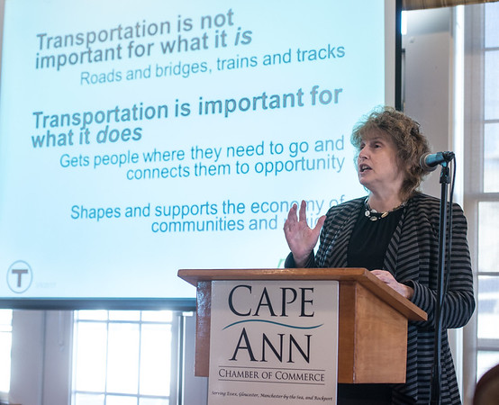 Desi Smith Photo.   MA Secretary of Transportation Stephanie Pollack speaks about the Baker/Polito Administration?s statewide transportation program, with a particular focus on priority Cape Ann area initiatives, during the Cape Ann Chamber of Commerce Economic Outlook Breakfast held at the Gloucester House Thursday morning.  March 9,2017