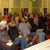 MARY MARKOS/Staff photo<br /> Women's March Symposium leader Laura Fillmore Evans, far right, acts as moderator during a forum on sanctuary Tuesday night in Rockport.