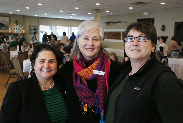 MIKE SPRINGER/Staff photo<br /> From left, Governor's Council member Eileen Duff, Ilia Stacy of The Open Door and Deanna Fay of Harborlight Community Partners attend the annual Meals on Wheels benefit breakfast Friday at the Gloucester House restaurant.<br /> 3/16/2018