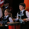 MIKE SPRINGER/Staff photo<br /> Eleven-year-old Sam Cook, left, and his cousin Richard Porter, 13, both of Gloucester, play drums with the North Shore Pipe Band during a St. Patrick's Day breakfast Saturday at Peabody City Hall.<br /> 3/17/2018