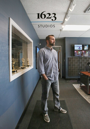 MIKE SPRINGER/Staff photo<br /> Executive Director Erich Archer at the Gloucester headquarters of the former Cape Ann TV, which has now been re-branded as 1623 Studios.<br /> 2/28/2018