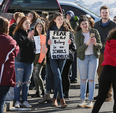 MIKE SPRINGER/staff photo<br /> Students protest gun violence during a walkout Thursday at Gloucester High School.<br /> 3/15/2018