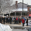 MIKE SPRINGER/Staff photo<br /> About 200 students at Rockport High School and middle school participate in a walkout Wednesday morning to protest U.S. gun policy on the one-month anniversity of the February 14 mass shooting at Marjory Stoneman Douglas High School in Parkland, Florida.<br /> 3/14/2018