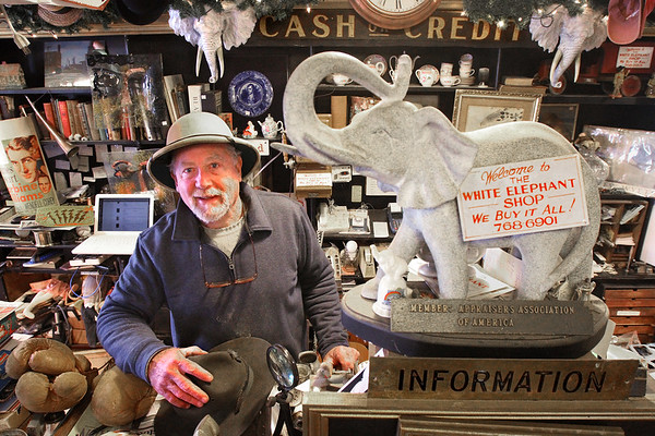 MIKE SPRINGER/Staff photo<br /> Rick Grobe, owner of the White Elephant shop in Essex, is looking for the right person to buy the iconic antique store and carry on with the business.<br /> 3/21/2018