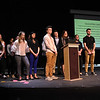 "MIKE SPRINGER/Staff photo<br /> Teacher Rachel Rex and a group of students face the audience for questions after presenting their report, ""Consequences of Sea Leval Rise and Storm Surges as a Result of Human-Accelerated Climate Change,"" Friday in the Gloucester High School auditorium. Seniors from the school's ecology and environental issues classes conducted the study.<br /> 3/23/2018"