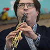 MIKE SPRINGER/Staff photo<br /> Clarinetist Jose Franch-Ballester of Vancouver, Canada, performs Thursday for students at Rockport Elementary School. Franch-Ballester and pianist Michael Brown appeared in the Rockport Schools as part of a three-day residency with Rockport Music. They gave a free concert Thursday evening at the Shaliln Liu Performance Center, featuring the Sonata for Clarinet and Piano by Leonard Bernstein.<br /> 3/22/2018