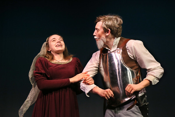 "MIKE SPRINGER/Staff photo<br /> Olivia Newman plays Dorotea and Ryan Taber plays Don Quixote in the Rockport High School production of ""Don Quixote.""<br /> 2/7/2018"