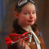 "MIKE SPRINGER/Staff photo<br /> Fifth-grader Joanna Culbreth portrays aviator Amelia Earhart in a ""Wax Museum"" event Friday Veterans Elementary School in Gloucester. The entire fifth grade class participated in the program, which was visited by parents and students from other grades.  The fifth-graders dressed as famous historical figures and stood still, like wax statues, until a visitor pushed a button. They would then spring into life and recite a first-person account of the famous person's life.<br /> 3/23/2018"