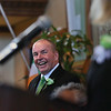 MIKE SPRINGER/Staff photo<br /> Event organizer Tom Gould laughs at a joke by state Sen. Joan Lovely during the annual St. Patrick's Day breakfast Saturday at Peabody City Hall.<br /> 3/17/2018