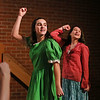 MIKE SPRINGER/Staff photo<br /> Bailee Militello, left, and Megan Merchant rehearse a scene Monday in the O'Maley Academy production of Shrek Jr. at O'Maley Middle School.<br /> 2/26/2018.