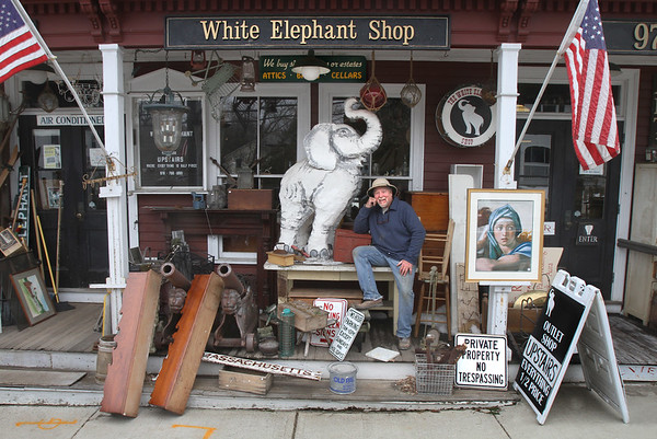 MIKE SPRINGER/Staff photo<br /> Rick Grobe, owner of the White Elephant in Essex, is looking for the right person to buy the iconic antique store and continue the business.<br /> 3/21/2018