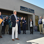 Desi Smith/Staff photo.   Architect George Marsh (second from left) of Payette,a leading architectural design firm in Boston, speaks to a group of supporters and donors during a ribbon cutti ...