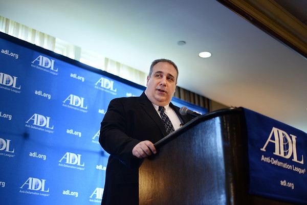 PAUL BILODEAU/Staff photo. Gloucester Chief Leonard Campanello speaks during the Anti-Defamation League's annual Essex County Law and Education Day Event at the Kernwood Country Club in Salem. Campanello was a recipient of the community service award during this annual event.