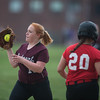 Desi Smith/Staff photo.   Rockport's first basemen Lauren Ryan collects a throw for the out against Masconomet Friday afternoon at Rockport High School.    May 13,2016