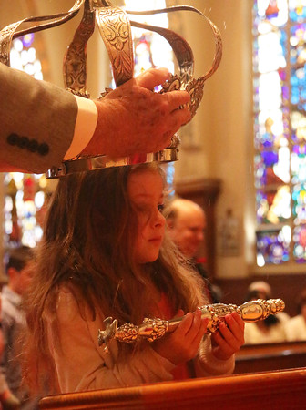 Gloucester: At the Annual Crowning Feast of the Holy Spirit held at Our Lady of Good Voyage Parish on Sun., May 15, 2016. Bart and Mary Piscitello were honored this year with the Crown and they and their family were crowned first at the end of the Mass. Bella Babine, 5 1/2,  great-granddaughter of Bart and Mary Piscitello, also was  crowned during the ceremony. Photo by Allegra Boverman