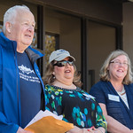 Desi Smith/Staff photo.   Former mayor John Bell, Mayor Sefatia Remeo Theken and former mayor Carolyn Kirk, spoke at the ribbon cutting ceremony at the openning of Gloucester Biotechnology A ...