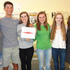 MARY MARKOS/Staff photo<br /> Manchester Essex Regional High School journalists, from left, juniors Abigail Fitzgibbon and James Riordan, seniors Amber Pare and Maura McCormick, junior Juliette Kelley and teacher Mary Buckley show off their All-New England Award from the New England Scholastic Press Association.