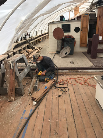 MARY MARKOS/Staff photo<br /> Work is done on the 1925 Essex-built Roseway at the Gloucester Marine Railways on Rocky Neck. The public is invited to tour the now made-over vessel Saturday from 8 to 11 a.m.